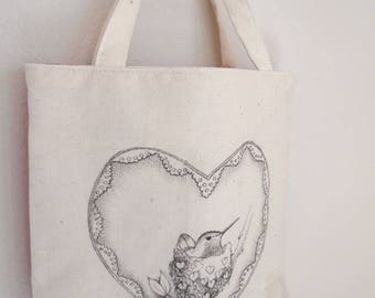 Original pen ink drawing on SMALL fabric tote bag, gift bag, teacher gift bag, nesting hummingbird, Monica Minto