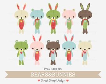Baby Shower Clip Art, Baby Clip Art, Digital Clip Art, Bunnies & Bears, Instant Download