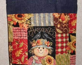 New Small Handmade Scarecrow Harvest Autumn Denim Tote Bag Purse