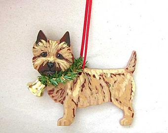 Hand-Painted CAIRN TERRIER Red Wheaten Wood Christmas Ornament Artist Original....Nicely Painted