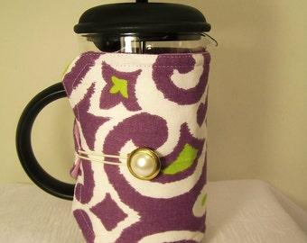 French Press Cozie, Insulated Coffee Pot Cozy, Bodum 8 Cup Press Pot Cosy, Purple, Hot Pot Sleeve Cozie