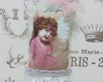 Shabby Sweet Angel Gift Sachet, Vintage Inspired Heartfelt Angel Sachet, Mother's Day, Vintage Lace, Swarovski Crystals, FREE USA SHIPPING
