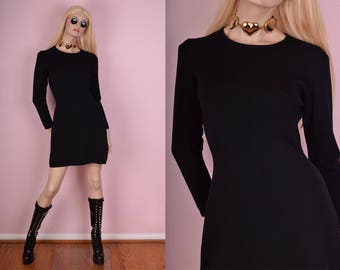 90s Black Wool Long Sleeve Dress/ Medium/ 1990s