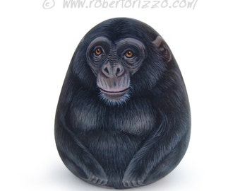 Funny Chimpanzee Painted on A Sea Stone | Painted Rocks by Roberto Rizzo