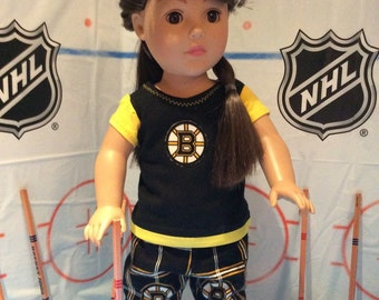 Boston BRUINS! 18 Inch Doll Clothes ,Fits all 18 inch Dolls  2 PC Outfit