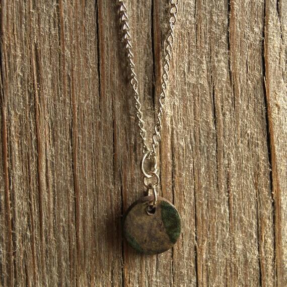SMALL round vintage abstract print stoneware pendant
