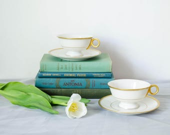 vintage white and gold teacups and saucers / Theodore Haviland Oxford china / 1950s china