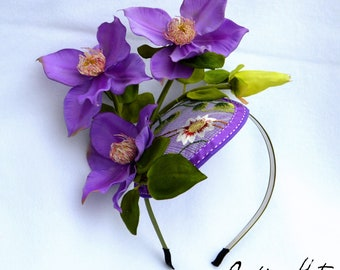 Purple Kentucky Derby Fascinator with embroidery embellishment and Clematus blooms, perfect for weddings too , handmade with care by Jaine.