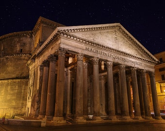 Pantheon, Rome, Italy, Ancient, Roman Architecture, Stars, Night, Dome, Oculus, Columns, Lazio - Travel Photography, Print, Wall Art