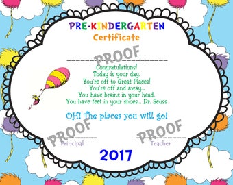 Oh the places you will go Printable 2018 Pre-KINDERGARTEN Graduation Diploma! - INSTANT DOWNLOAD