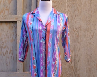 1970s Ethnic Ikat Tunic Blouse