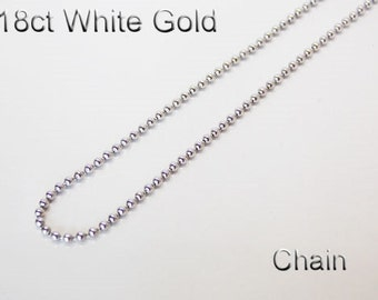 18ct 18K 750 Solid White Gold Chain Necklace for Pendant Jewellery - HJ82