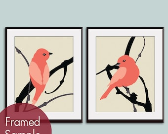 Birds on Cherry Branch (series A) - Art Print Sets - (Hibiscus on Cream Background) Buy 3 get 1 free