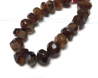Large Chalcedony Rough Faceted Beads. Natural Chalcedony. Dark Amber Brown. Gemstone Beads. 15mm-18mm x 8mm-13mm. 5 Beads.