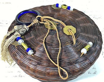 Asian vintage sewing basket with glass beads coins tassels antique round with wooden spools of thread