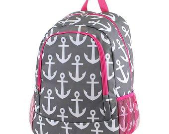 MM Anchor Monogram Backpack, Personalized Backpack, Monogram Bookbag, Boys Backpack, Pink Backpack, Kids Backpack, School Backpack