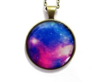 Blue and Pink Nebula Necklace - Galaxy Necklace - Planet Pendant - Universe Necklace - Galaxy Space Nebula Necklace - Space jewelry