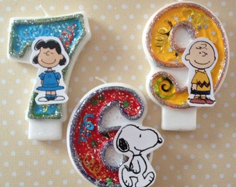 Peanuts, Charlie Brown, Snoopy Birthday Party Number Candle