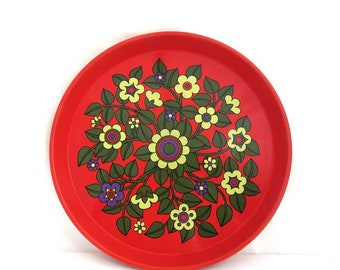 Vintage Round Serving Tray, Design by Pat Albeck, Worcester Ware Floral Metal Tin Tray, Flower Power Party Drinks Platter, Red Kitchen Decor
