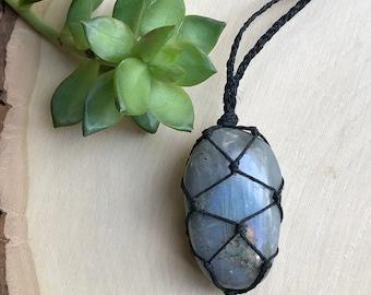 Labradorite Crystal Necklace - Hemp Wrapped Crystal Jewelry- Labradorite Stone Pendant - Boho Style - Hippie Crystal - Macrame Gemstone