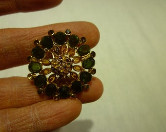 L54 Vintage Olive Green and Amber Rhinestones Brooch.