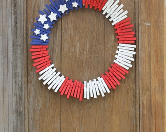 Patriotic Wreath, Fourth Of July Wreath, Red White And Blue Wreath, Patriotic Decor, American Flag Wreath, Clothespin Wreath, Front Door