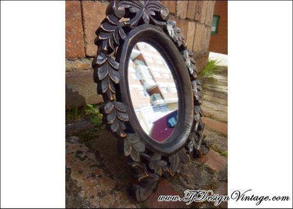 Espejo de mesa en cristal y madera, Espejo sobremesa ovalado, Espejo de mano, Espejo de mesa vintage, Espejo de mesa pequeño, Espejo coqueta