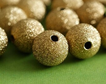 Sale 24pcs Raw Brass Stardust Round Beads 10mm