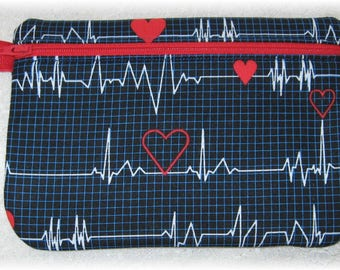 Nurse heart EKG monitor tech fabric purse, pouch with zipper, gadget bag, cosmetic bag, birthday Nurses day gift idea mom sister aunt