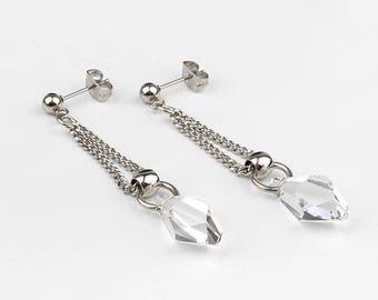 Swarovski crystal, stainless steel earrings