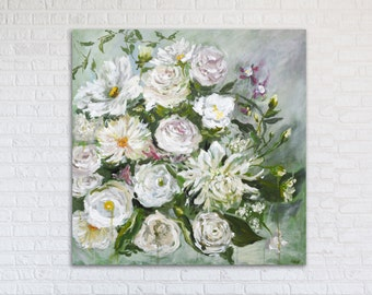"Flowers Painting Art Acrylic Original // ""Lush"" 24 x 24"" Canvas"