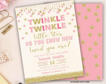 twinkle twinkle little star baby shower invitation, twinkle twinkle little star baby shower, girls baby shower invite, pink, gold glitter