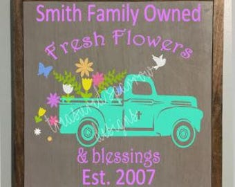 Spring Farmhouse Sign, Personalized Spring decor, Vintage Truck, Flower and Blessings, Established date, Farmhouse Spring decor