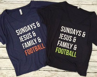 Sundays and Jesus and Family and Football - Slouchy V-Neck Tee