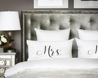 Couple Pillowcases Mr and Mrs Gift 2nd cotton wedding anniversary pillow cases for Him His Hers couple gifts Engagement Marriage pillowcases