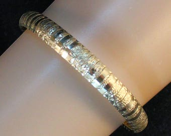 """Estate 14K Solid Yellow Gold 7.25"""" Etched Omega Bracelet 15.82 Grams Made in Italy Wedding Gift"""