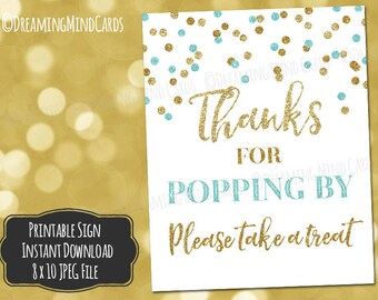 Printable Thanks for Popping By Popcorn Bar Sign 8x10 Light Blue Gold Glitter Confetti Baby Shower Digital Download