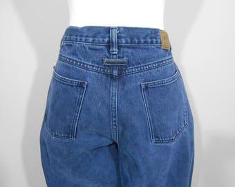 "Vintage 1980s Medium Wash Peg Leg Brittania Jeans / Size 14 / 80s Valley Girl High Waist Baggy Jeans / 32"" X 29 1/2"""