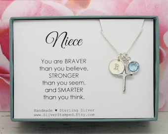 Gift for niece etsy easter gift for niece gift necklace sterling silver initial birthstone necklace nieces birthday graduation negle Choice Image