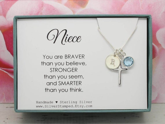 Easter gift for niece gift necklace sterling silver initial easter gift for niece gift necklace sterling silver initial birthstone necklace nieces birthday graduation baptism confirmation gift negle Images