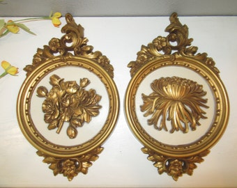 Vintage Syroco Floral Wall Plaques #7490 Gold & Beige-70s Vintage Rustic Farmhouse Floral Plaques-2 Rare Gold Flower Wall Plaques-Gold Decor