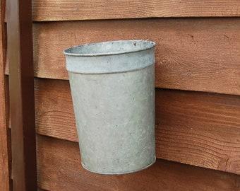 Galvanized Sap Bucket, Tall Galvanized Sap Bucket, Vintage Bucket, Planter Sap Pail