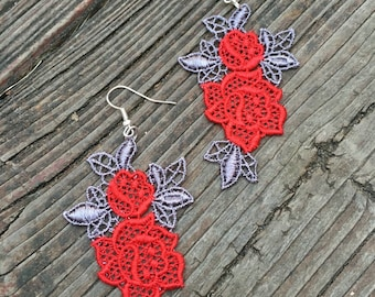 Red and gray lace rose applique earrings silver earring wires