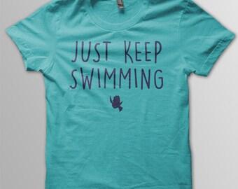 Finding Dory Disney shirt kids Just Keep Swimming Shirt