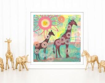 Giraffes Giclee Print, nursery wall art, kid's art, wall art for playroom, giraffe, canvas art, art for child's bedroom by Suzielou