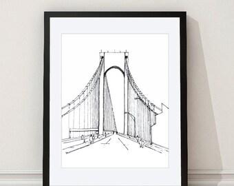Verrazano Bridge Print - Verrazano Bridge Architectural Print - New York Wall Art - New York Architectural Drawing - Aldari Art