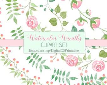 Watercolor wreath clipart Watercolor clipart watercolor frame clipart Floral wreath clipart floral wreath digital wreath clip art