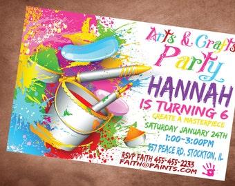 Art Painting Birthday Invitation Personalized Invite DIY Printable Craft invitation
