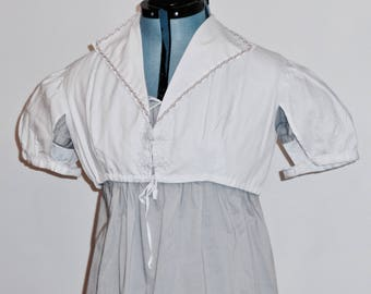 """Readymade Regency High Collar Summer Spencer, White Dobby Stripe With Pink Floral Trim, 39"""" Bust"""