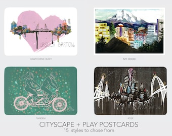 Cityscapes + Play Postcards || Set of 6